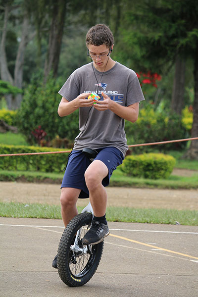 Most Rubiks cubes solved on a unicycle
