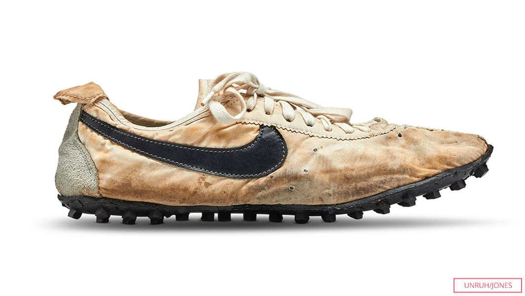 1972 Nike Moon Shoe has just been sold at a Sotheby's for a price $437,500 to Canadian collector and businessman Miles Nadal - breaking the record for the most expensive trainers (sneakers) sold at auction