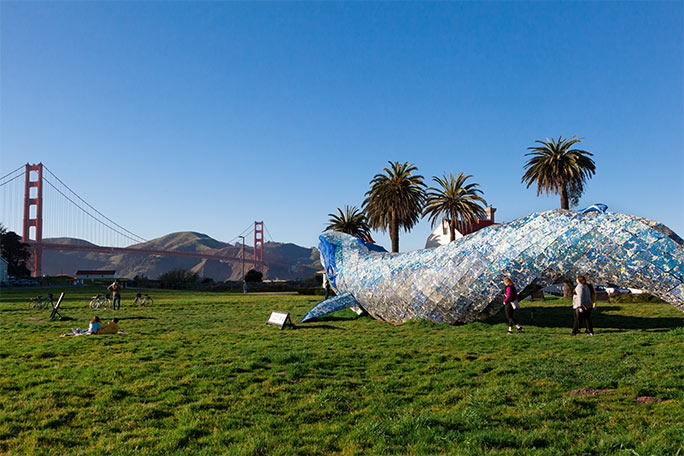 Recycled plastic whale Golden Gate Bridge