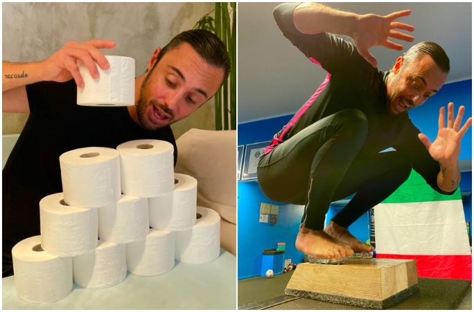 silvio sabba split image toilet rolls jumping onto lightbulbs
