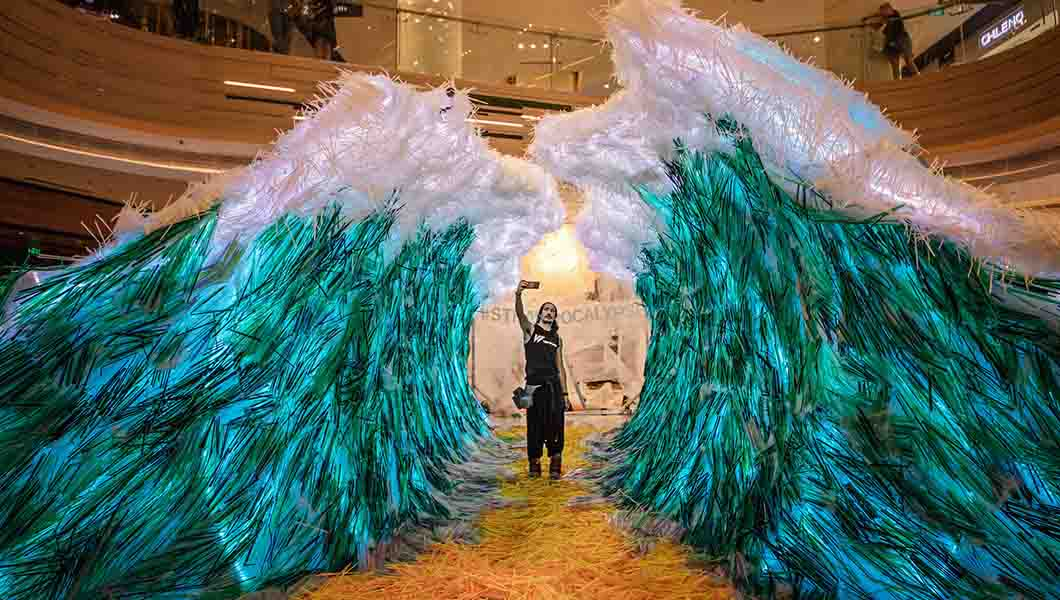 This amazing sculpture is made from thousands of recycled straws