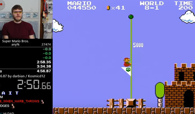 Watch this Super Mario Bros  gamer beat his own speedrun