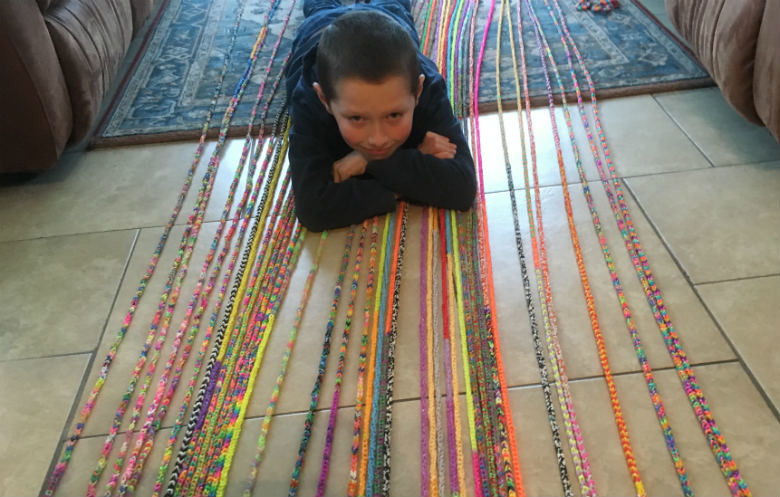 Longest loom band bracelet made by an individual
