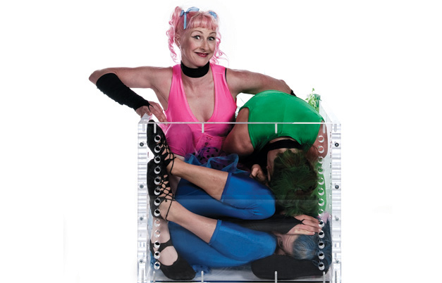 Three contortionists in a box - duration