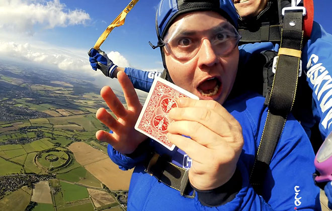 Most magic tricks performed in a single skydive