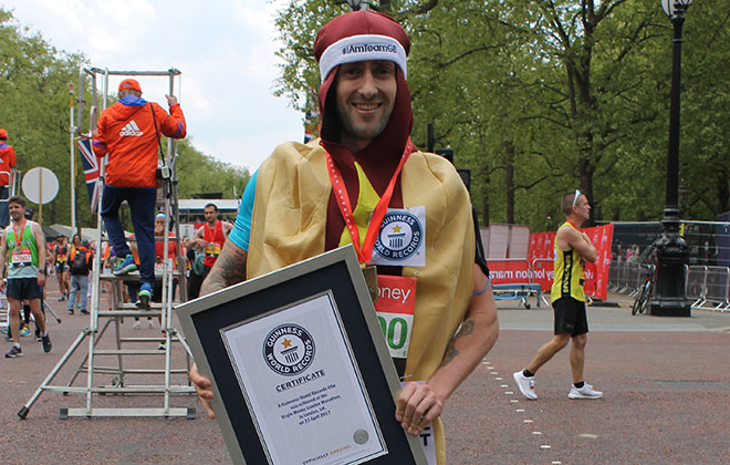Fastest marathon dressed as a fast food item
