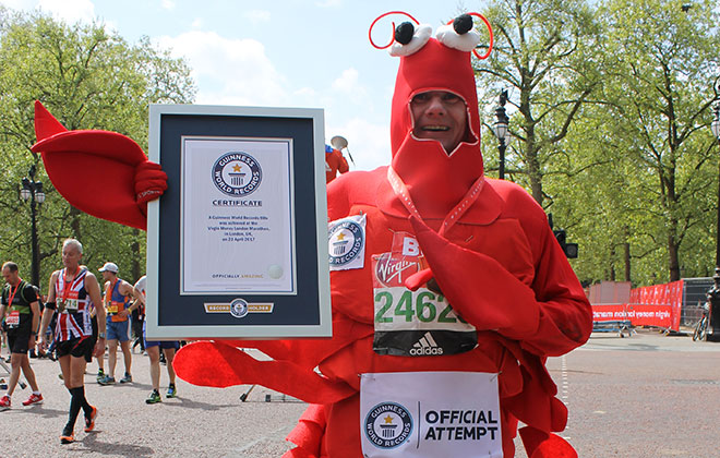 Fastest marathon dressed as a crustacean (male)