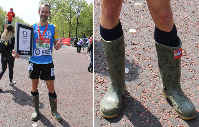 Fastest marathon wearing wellington boots
