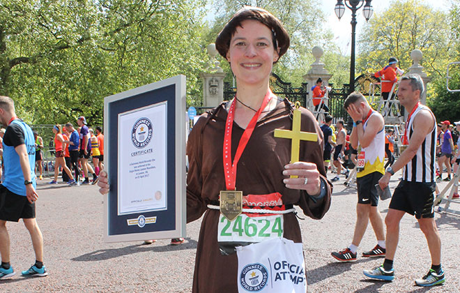 Fastest marathon dressed as a monk (female)
