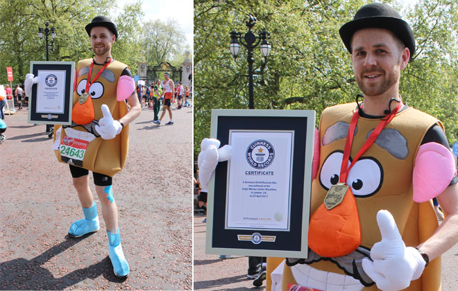 Fastest marathon dressed as a Mr. Potato Head