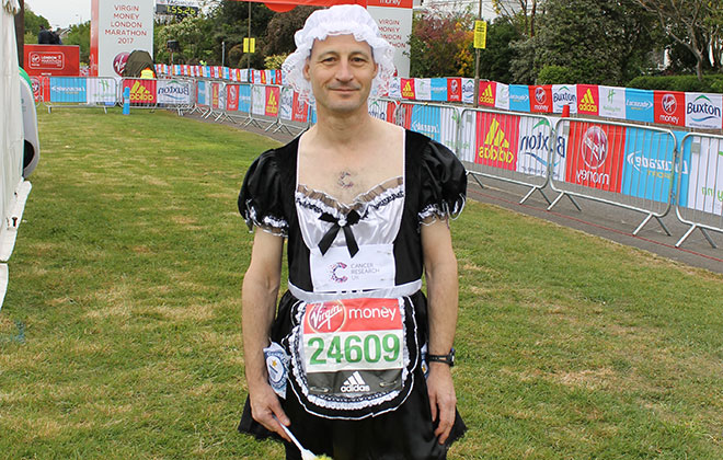 Fastest marathon dressed as a French maid (male)