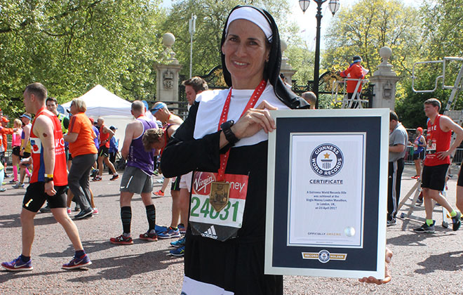 Fastest marathon dressed as a nun (female)