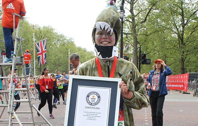 Fastest marathon dressed in a full body dinosaur outfit (female)