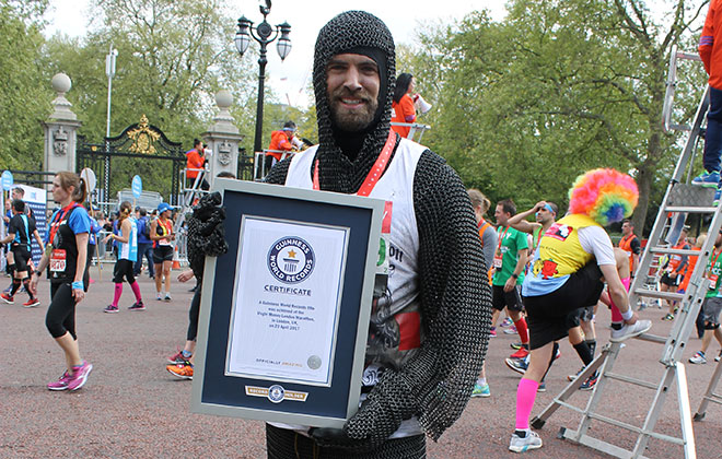Fastest marathon wearing chainmail (upper body)