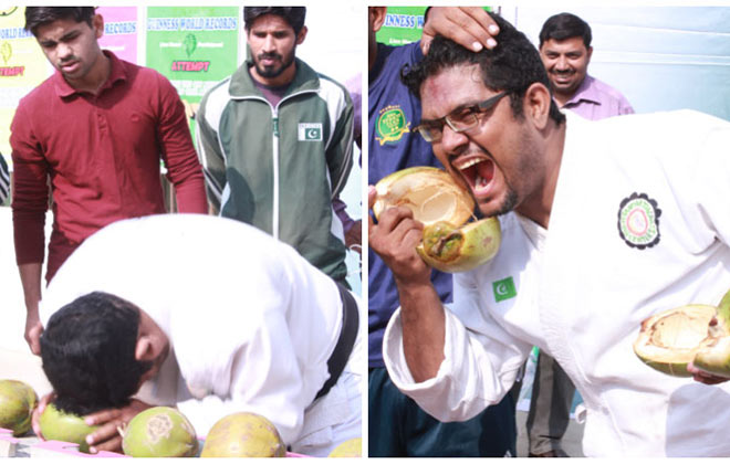 Most green coconuts smashed with the head in one minute