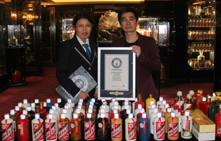 Largest collection of Moutai bottles