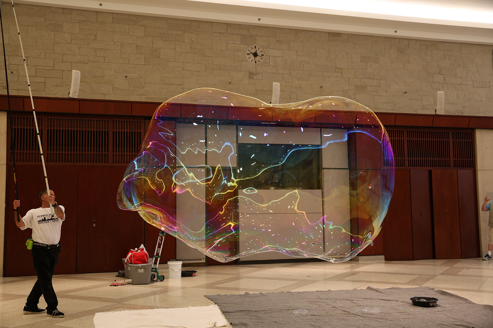 Largest free floating soap bubble (indoors)